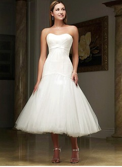 A-Line/Princess Strapless Sweetheart Tea-Length Taffeta Tulle Wedding Dress