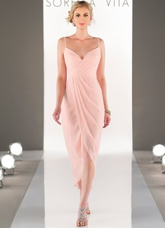 Sheath/Column V-neck Asymmetrical Chiffon Bridesmaid Dress With Ruffle (0075130039)