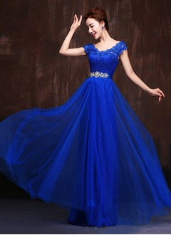 A-Line/Princess V-neck Floor-Length Tulle Lace Evening Dress With Appliques Lace