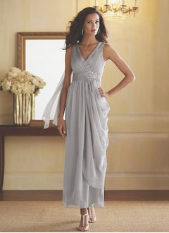 Sheath/Column V-neck Ankle-Length Chiffon Mother of the Bride Dress With Ruffle Beading Cascading Ruffles