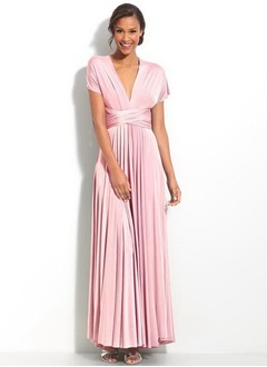 A-Line/Princess V-neck Floor-Length Jersey Homecoming Dress With Ruffle