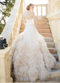 A-Line/Princess Strapless Sweetheart Cathedral Train Tulle Wedding Dress With Ruffle Beading