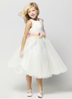 A-Line/Princess Scoop Neck Tea-Length Organza Satin Flower Girl Dress With Ruffle