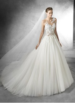 Ball-Gown Strapless Sweetheart Court Train Chiffon Tulle Wedding Dress With Appliques Lace Bow(s)
