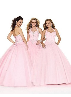 Ball-Gown Halter Floor-Length Satin Tulle Prom Dress With Ruffle Beading
