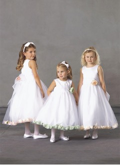 A-Line/Princess Scoop Neck Ankle-Length Organza Satin Flower Girl Dress With Sash Flower(s)