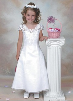 A-Line/Princess Scoop Neck Ankle-Length Organza Satin Flower Girl Dress With Lace Beading