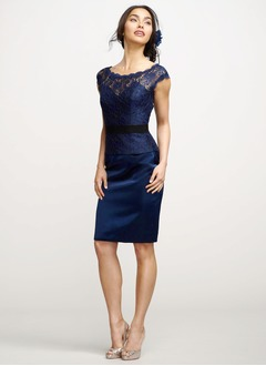Sheath/Column Scoop Neck Knee-Length Charmeuse Lace Cocktail Dress With Lace Sash