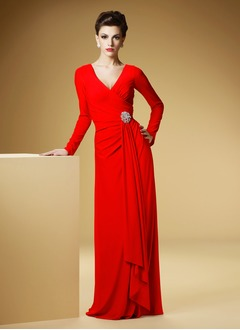 Sheath/Column V-neck Sweep Train Jersey Evening Dress With Ruffle Crystal Brooch