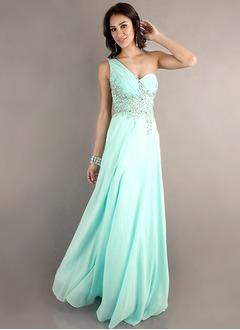 A-Line/Princess One-Shoulder Sweep Train Chiffon Prom Dress With Beading