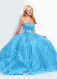 A-Line/Princess Sweetheart Floor-Length Satin Tulle Homecoming Dress With Ruffle Beading