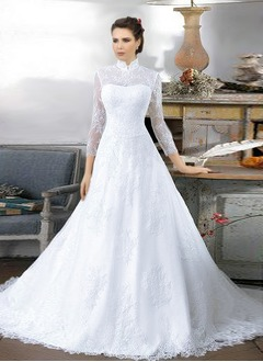 A-Line/Princess High Neck Cathedral Train Satin Tulle Lace Wedding Dress