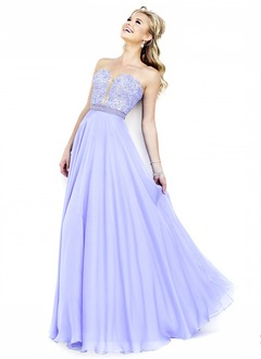 A-Line/Princess Strapless Sweetheart Floor-Length Chiffon Prom Dress With Beading Appliques Lace