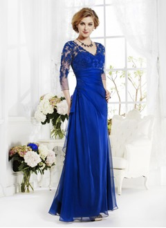 A-Line/Princess V-neck Floor-Length Chiffon Lace Evening Dress With Ruffle Appliques Lace