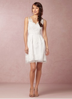 A-Line/Princess V-neck Short/Mini Organza Wedding Dress With Appliques Lace