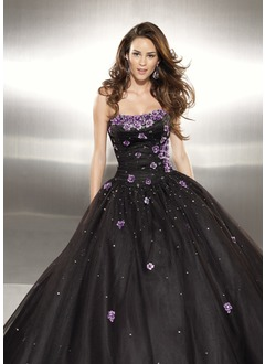 Ball-Gown Sweetheart Floor-Length Organza Satin Prom Dress With Embroidered Ruffle Beading