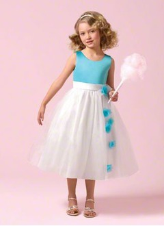 A-Line/Princess Scoop Neck Tea-Length Organza Satin Flower Girl Dress With Flower(s)