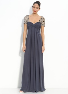 Empire Sweetheart Floor-Length Chiffon Charmeuse Mother of the Bride Dress With Ruffle Beading Sequins