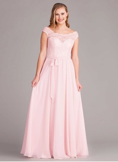 A-Line/Princess Off-the-Shoulder Floor-Length Chiffon Bridesmaid Dress With Lace