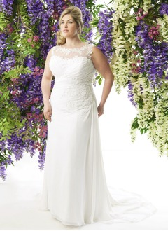 Sheath/Column Scoop Neck Sweep Train Chiffon Wedding Dress With Ruffle Lace