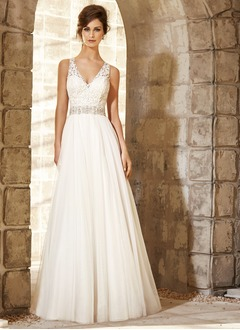 A-Line/Princess V-neck Sweep Train Tulle Wedding Dress With Beading Appliques Lace