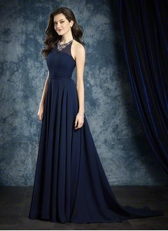 A-Line/Princess Halter Sweep Train Chiffon Bridesmaid Dress With Beading