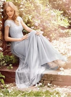 A-Line/Princess Scoop Neck Sweep Train Tulle Lace Bridesmaid Dress With Lace