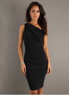 Sheath/Column One-Shoulder Knee-Length Chiffon Cocktail Dress  ...