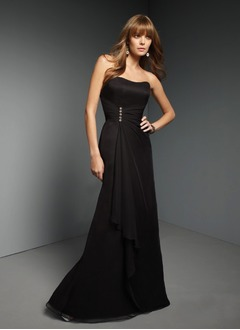 A-Line/Princess Strapless Sweetheart Floor-Length Chiffon Bridesmaid Dress With Ruffle Beading Cascading Ruffles