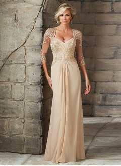 A-Line/Princess V-neck Floor-Length Chiffon Tulle Mother of the Bride Dress With Beading Appliques Lace