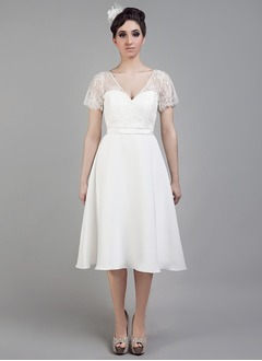 A-Line/Princess V-neck Knee-Length Satin Wedding Dress With Lace
