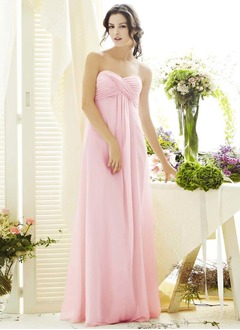 Empire Strapless Sweetheart Floor-Length Chiffon Bridesmaid Dress With Ruffle