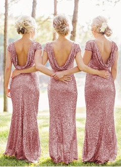 Sheath/Column Scoop Neck Floor-Length Sequined Bridesmaid Dress