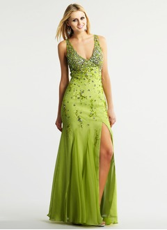Trumpet/Mermaid V-neck Floor-Length Chiffon Taffeta Tulle Prom Dress With Beading Split Front