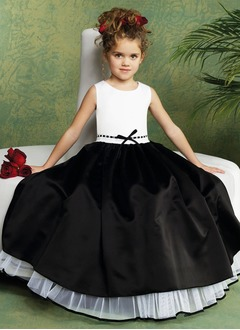 A-Line/Princess Scoop Neck Floor-Length Satin Tulle Flower Girl Dress