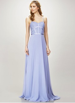 A-Line/Princess Sweetheart Sweep Train Chiffon Bridesmaid Dress With Lace
