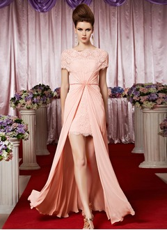 Sheath/Column Scoop Neck Floor-Length Chiffon Lace Evening Dress With Ruffle Beading