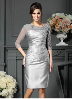 Sheath/Column V-neck Knee-Length Satin Tulle Mother of the Bride Dress With Appliques Lace
