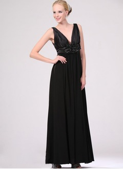 Empire V-neck Floor-Length Chiffon Taffeta Mother of the Bride Dress With Ruffle Flower(s)