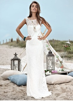 Sheath/Column Scoop Neck Sweep Train Lace Wedding Dress With Lace