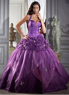 Ball-Gown Halter Floor-Length Organza Satin Quinceanera Dress With Ruffle Beading
