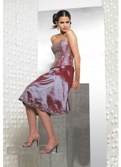 Ball-Gown Strapless Knee-Length Taffeta Quinceanera Dress With Embroidered Beading