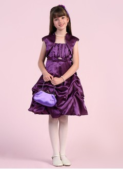 A-Line/Princess Strapless Knee-Length Satin Flower Girl Dress With Ruffle Beading
