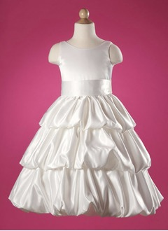 A-Line/Princess Scoop Neck Floor-Length Satin Flower Girl Dress With Ruffle Sash