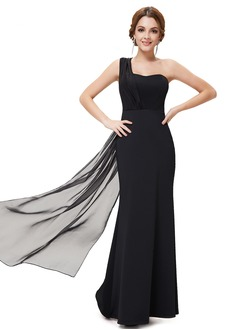 Sheath/Column One-Shoulder Watteau Train Chiffon Bridesmaid  ...