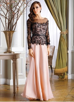A-Line/Princess Scoop Neck Floor-Length Chiffon Tulle Mother of the Bride Dress With Lace
