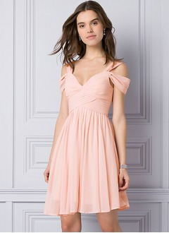 A-Line/Princess Sweetheart Knee-Length Chiffon Bridesmaid Dress With Ruffle (0075133628)