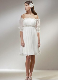 Empire Off-the-Shoulder Knee-Length Chiffon Wedding Dress With Ruffle Beading Cascading Ruffles