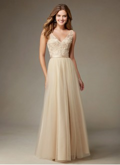 A-Line/Princess V-neck Floor-Length Tulle Bridesmaid Dress With Beading Sequins