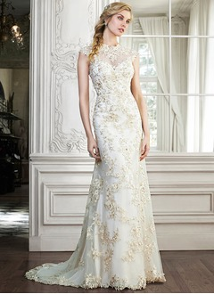 Sheath/Column Scoop Neck Sweep Train Tulle Charmeuse Wedding Dress With Beading Appliques Lace